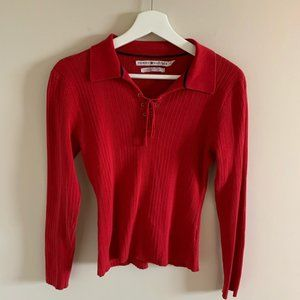 Vintage Tommy Hilfiger Red Lace Up Long Sleeve Top